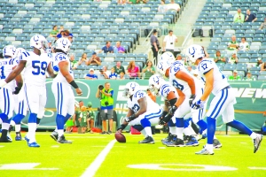 The Indianapolis Colts warm up on Thursday before their preseason opener against the New York Jets at MetLife Stadium.
